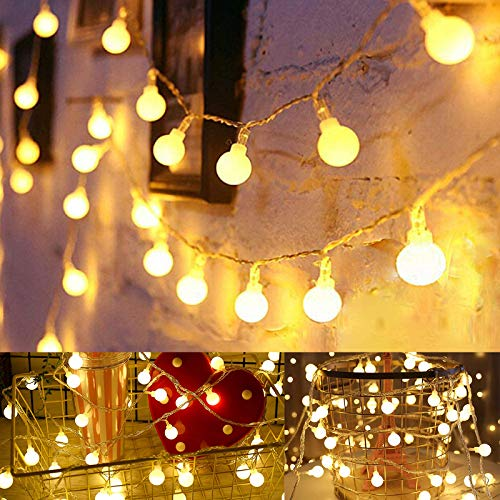 Globe String Lights for Bedroom Battery Operated, 20FT 40LED Christmas Lights Battery Operated for Garden Wedding Party Decor Indoor Outdoor Ball String Lights, Warm White