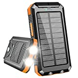 Solar Charger 20000mAh, Portable Solar Power Bank Outdoor Waterproof External Backup Battery with Dual USB Outputs, 2 Led Flashlights and Compass for All Cell Phone