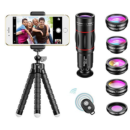 APEXEL Phone Camera Lens with 18x Telephoto Lens+Fisheye,Macro/Wide Angle Lens+Star,Kaleidoscope...
