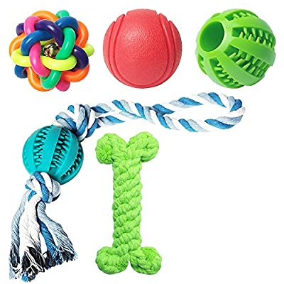 5 Piece Dog Toys of Teething, Dog Toys for Boredom, Durable Rubber Fun Interactive Toys for Large And Small Dogs (Chew Toy-2)
