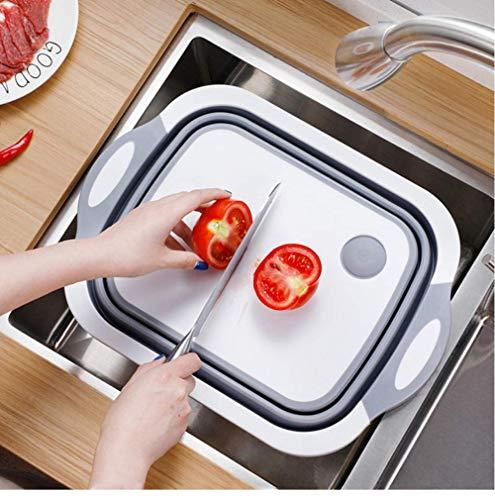 QQW Cocina Bloque de Corte Plegable Tablero de Corte Cesta de Lavado Organizador de Desagüe Carne Carne 38X35Cm