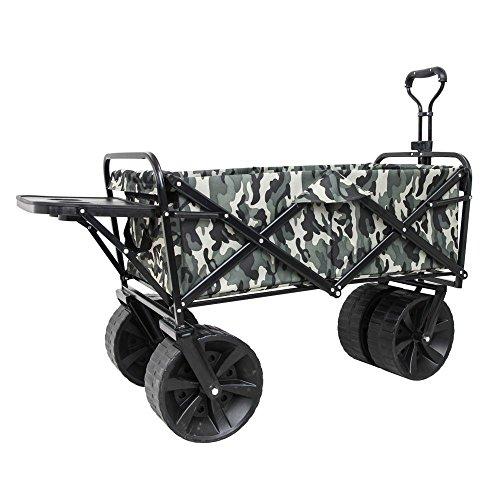 NEG Bollerwagen (grün Camouflage) Offroad-Handwagen (faltbar) für Strand/Gelände, extra große Räder (bis 100kg belastbar)