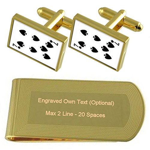Picas Naipe número 7 tono Oro gemelos Money Clip grabado Set de regalo