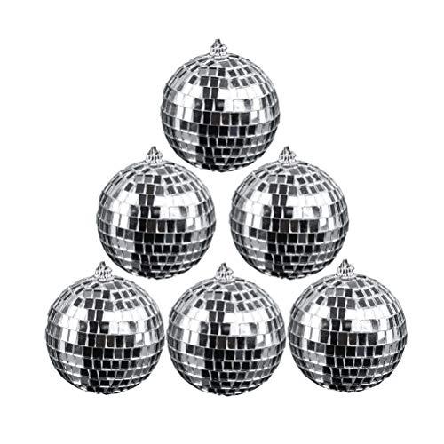 Amosfun 12pcs 5cm Glas Discokugel mit Aufhängering für Party Hanging Decorations (Silber)