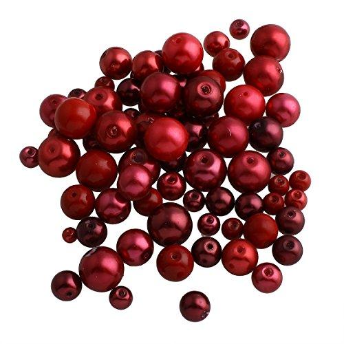 200g Glaswachsperlen Konvolut Wachsperlen Kugel Glasperlen Mix Rot Bordeaux Set 4 6 8 10 12 mm Schmuckperlen zum Fädeln D38