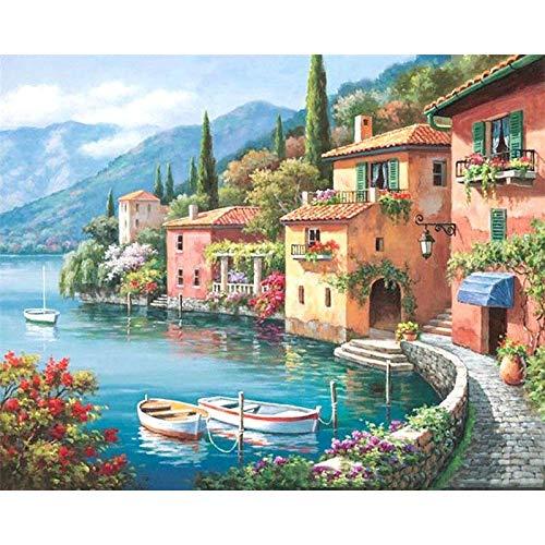 Pintura por números para colorear pintura de paisaje cuadro de lienzo pintura al óleo por número mar pintado a mano decoración del hogar A12 45x60cm