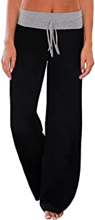 AMiERY Women's Comfy Casual Pajamas Pant Floral Printed High Waist Wide Legs Lounge Pants Trousers