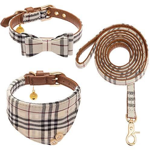 CHERPET Bow Tie Dog Collar and Leash Set - Cute Plaid, plaid, Size adjustable