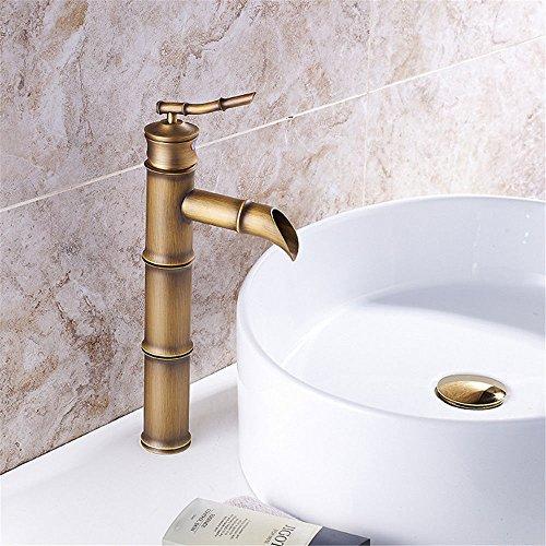Grifo mezclador para lavabo, WATER TOWER, moderno, con cuerpo de latón, estilo retro, de bambú, con un solo agujero para lavabo, cascada, tres secciones, bronce verde sobre el mostrador, grifo de agua caliente y fría