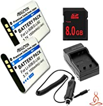 Two Halcyon 1500 mAH Lithium Ion Replacement Battery and Charger Kit + 8GB SDHC Class 10 Memory Card for Olympus SZ-12 14 Megapixels Digital Camera and Olympus LI-50B