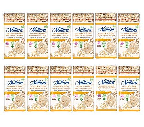Nattura Gallette di Farro, Riso e Crusca d'Avena Quadrate Biologiche Vegano Ricche di Fibre - 12 x 130 Gram
