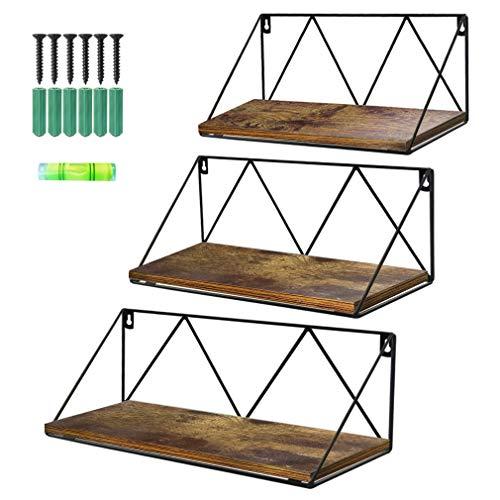 Calenzana Floating Wall Shelves Set of 3 Rustic Wood Storage Shelf for Bathroom Kitchen Living Room Bedroom