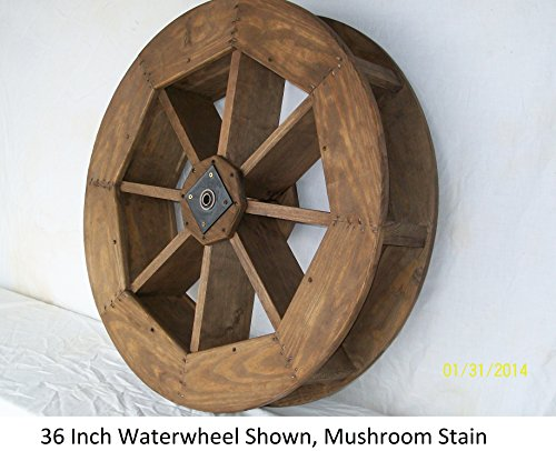 "Backyard Crafts Amish-Made Decorative Waterwheel - 36"" Diameter, Mushroom Stain"