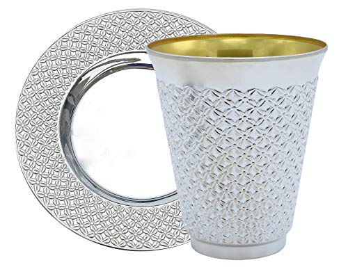 Exquisite 100 Pcs - 50 Sets of 5.5 oz Disposable Plastic Kiddush Cup and Tatz Silver Cup and Saucer Set for Passover, Shabbat, Wedding, Brit and Year Round - Bulk Pack