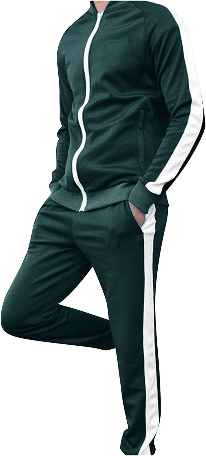 FUNEY Men's Tracksuit Athletic Sports Casual Full Zip Sweatsuit 2 Piece Long Sleeve Coat and Striped Workout Running Pants