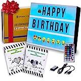 Caja de Luz LED A4 – Light Box con Cambio de Luz y Cor + 173 Letras Luminosas + 85 Emojis – Control Remoto con Dimmer – Regalo Original, Ideial Para Regalos Para la Casa y Para Adolescentes.
