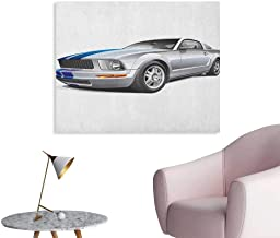 Anzhutwelve Teen Room Poster Wall Decor Modern Cool Car Automobile Fancy Speed Fast Vehicle Illustration Print Wall Poster Silver Grey Blue W48 xL32