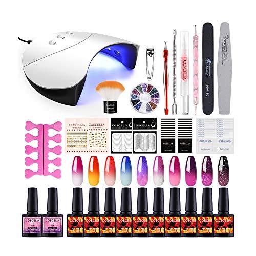 Saint-Acior UV Nagellack Starterset UV Gel Farben Set 10pc Thermolacken 36W UV+LED Nagellampe Nail...