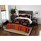 MISC 5 Piece Bengals Comforter & Sheets Set Full Queen, Football Sports Bedding for Boys Kids Bedroom Team Logo Printed Collegiate Pattern Home Decor Game Fans Gift Super Soft Cozy Quality Polyester