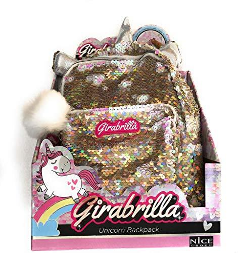 GIRABRILLA Nuovo Zaino Unicorno Unicorn Backpack Zaino Colore Oro Perlato Originale di Nice