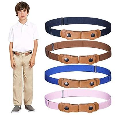Boys Girls No Buckle Belt - 4PCS Toddlers Invisible Belt For Boys & Girls Stretch Waist Belt (Pink/Brown/Royal Blue/Navy Blue)