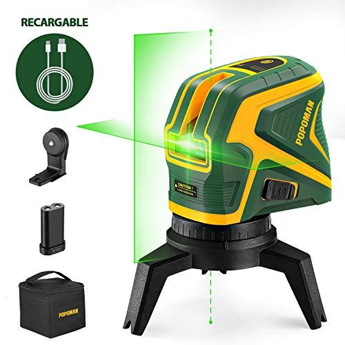 POPOMAN Livella Laser verde con 2 Punti a Piombo, USB ricarica, Linea Laser Croce Autolivellante 25m, Funzione a impulsi, Base Magnetica Rotante Inclusa - MTM320B