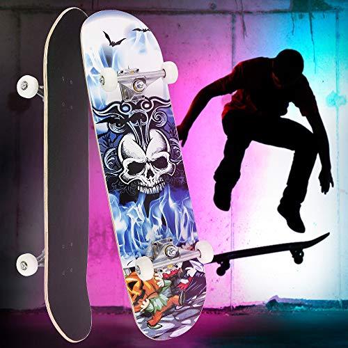 Anth Completo Skateboard para Principiantes, 79 * 19,5cm Monopatín con Rodamientos ABEC-7 Tabla de Skateboard para Principiantes Niñas Niños y Adultos - Patrón de Calavera
