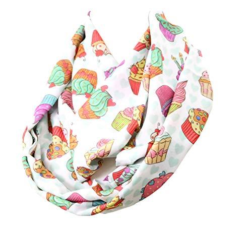 DiCapanni's Cupcake Infinity Bufanda para magdalenas, bufanda colorida, regalo de cumpleaños para ella para panadería, chef, ropa, decoración de pasteles, accesorios para...