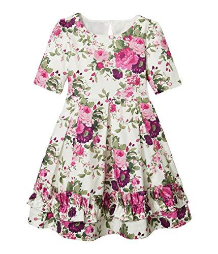Janie and Jack Girl's Floral Dress (Toddler/Little Kids/Big Kids) Multi 6 (Little Kids)