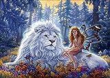 MXJSUA Kit de Pintura de Diamantes por números, diseño de ángel con león de Punto de Cruz, Pinturas Diamantes para decoración del hogar, con Caja de Almacenamiento de Accesorios 40 x 30 cm