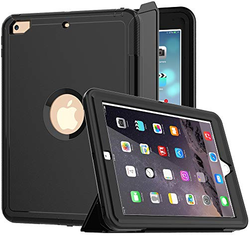 iPad 5th/6th Generation Case, iPad 9.7 Case 2017/2018, SEYMCY Heavy Duty Full Body Shockproof Rugged Protective Smart Case with Trifold Stand Auto Wake/Sleep Cover for iPad 9.7 inch 2017/2018, Black