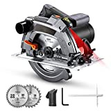 1500W Sega Circolare, 5000 giri/minuto, Protezione in Alluminio, 190mm/24T e 185mm/40T Lame, Sega Circolare per Legno con Laser