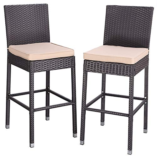 Do4U Set of 2 Patio Bar Stools All-Weather Wicker Outdoor Furniture Chair, Bar Chairs with Brown Cushions & Footrest   Garden Pool Lawn Backyard   Steel Frame  Barstools (Brown)