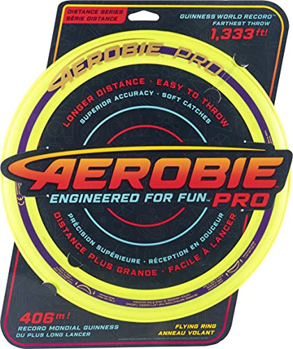 Aerobie Pro Ring Outdoor Flying Disc, 14 inches, Yellow