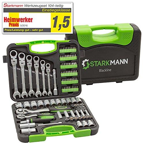 Starkmann Blackline Steckschlüssel-Satz Gabelschlüssel mit Ratschenfunktion Werkzeug Box Kiste Bits Maulgabelschlüssel Gelenk 104tlg