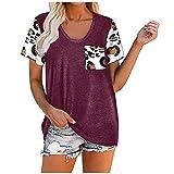 AMhomely Blusa de verano para mujer, diseño de corazón/margaritas con estampado de rayas, cuello en V, manga corta, blusas de moda, talla grande