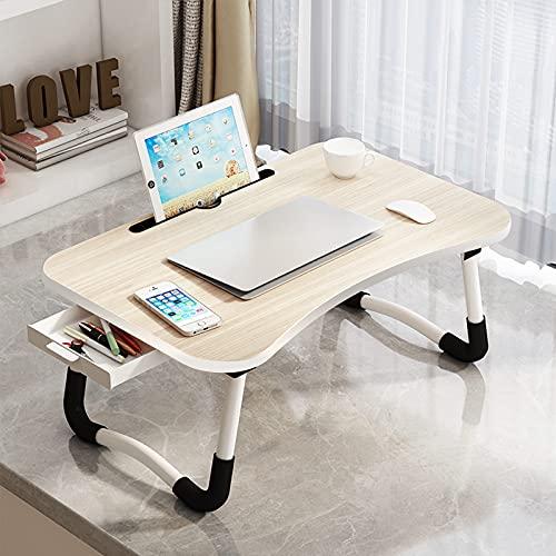 ARVINKEY Laptop-Schreibtisch mit Schublade, verstellbarem Laptop-Betttablett, Notebook-Ständer, Lesehalter, Sofa, Frühstücksbett-Tablett mit Tablet-Steckplätzen (Ahornweiß)
