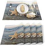 Juego de 4 manteles individuales,diseño de estrellas de mar y conchas de mar con aromas costeros,rectangular,lavable,resistente al calor,decoración de cocina,mesa de granja,color azul y amarillo