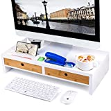 Monitor Stand Computer TV Riser with 2 Drawers & Desktop Organizer Laptop Printer Stand with Keyboard Storage Space for Home & Office,White,