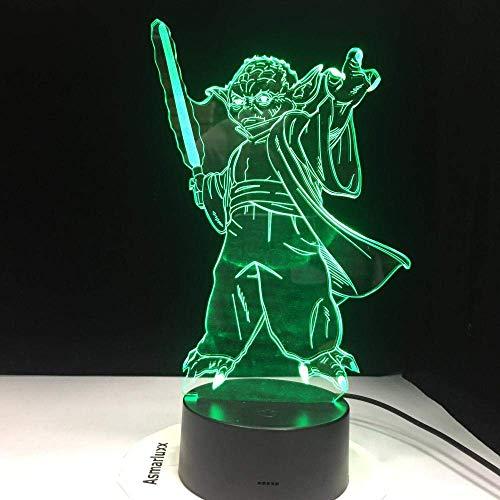 3D Illusionslampe LED Nachtlicht Sonderangebot Star War USB Vader Figur Meister Yoda Jedi Anführer Schwertkrieger Mehrfarbige Tischlampe Dekor