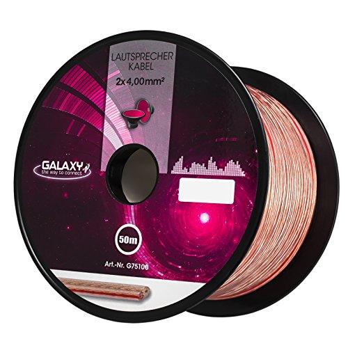 HB-Digital Lautsprecherkabel 2 x 4mm² x 50m CCA-Innenleiter Galaxy PVC- Dielektrikum (transparent) Speaker Cable