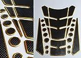 Tankpad Tankschutz Motorrad Carbon Optik Gold Schwarz universal mehrteilig