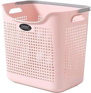 ECSWP Divisé en Bambou Toile Hamper - Double Lavage Panier avec Couvercle Moderne Section Pliable Hamper (Color : Pink)