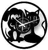 Instant Karma Clocks Reloj de Pared de Vinilo, diseño de un Gato y un Perro, Negro