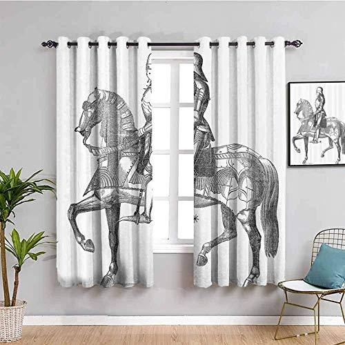 LucaSng Blickdicht Vorhang Wärmeisolierender - Schwarz Weiß Ritter Krieger - 160x115 cm - Junge mit Mädchen Schlafzimmer Wohnzimmer Kinderzimmer - 3D Digitaldruck mit Ösen Thermo Vorhang