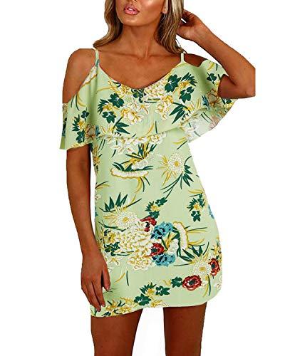 YOINS Sommerkleid Damen Sexy Tshirt Kleid Schulterfrei Tunika Kurzarm MiniKleid Strandkleid Blumenmuster Schulterfrei-Grün EU36-38