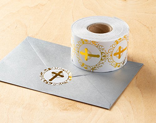 Religious Stickers – 500-Count Gold Foil Cross Stickers, Cross Design Round Labels with Gold Foil Finish, Envelope Seals…  