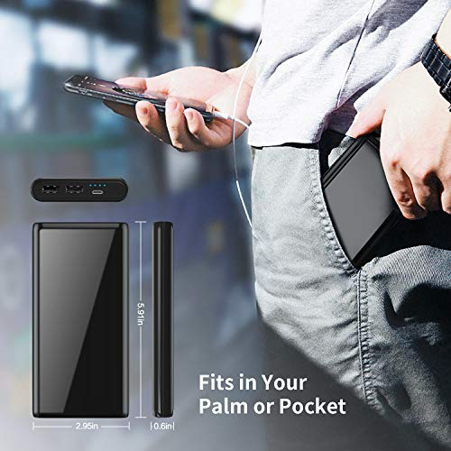 Feob [Cool Brillant Noir] Batterie Externe 26800mah Haute Capacité Power Bank, [Double Sortie Chargement Simultané] Chargeur Portable Batterie de Secours Universel pour Tous Smartphones Tablettes