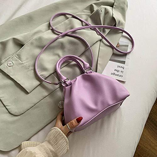 LOH en Cuir Couleur Solide Sacs de Crossbody Femmes épaule Sacs à Main Femme Totes Lady, Violet