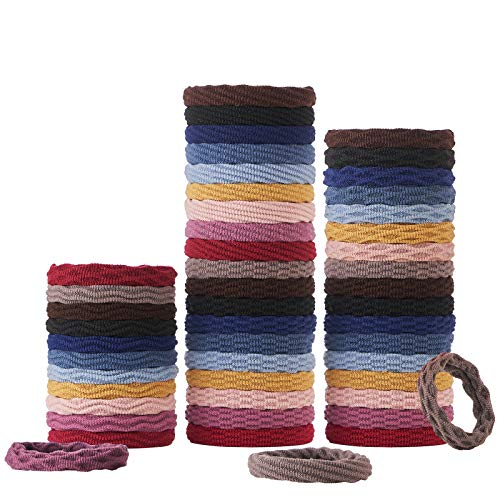 Hair Ties for women thick hair with seamless cotton,50PCS Elastic Hair Bands for women's hair ponytail,4 styles, 10 colours